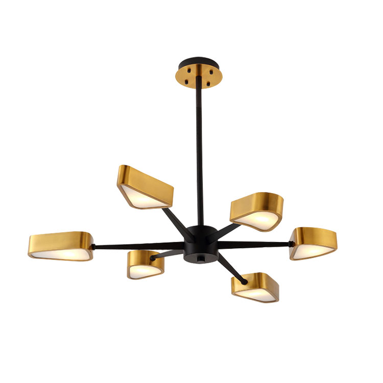 Post Modern Vintage Lamp 6 Lights Chandelier Black Brass LED